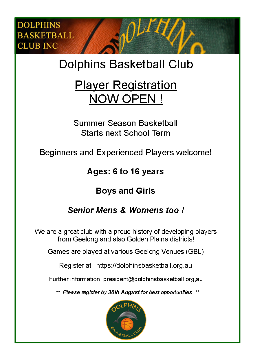 Dolphins Registion open flyer